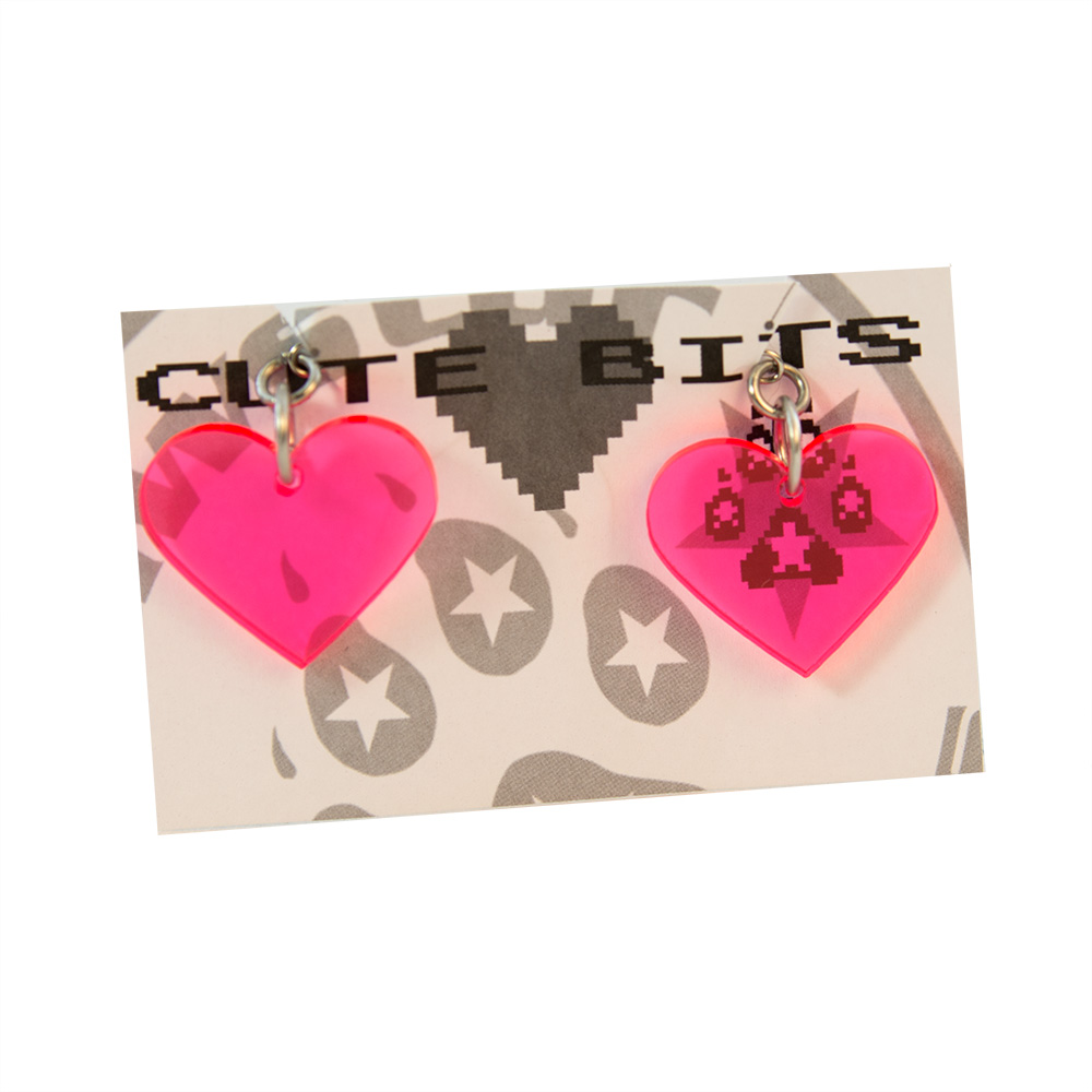Dayglo Hot Pink Acrylic Heart Earrings