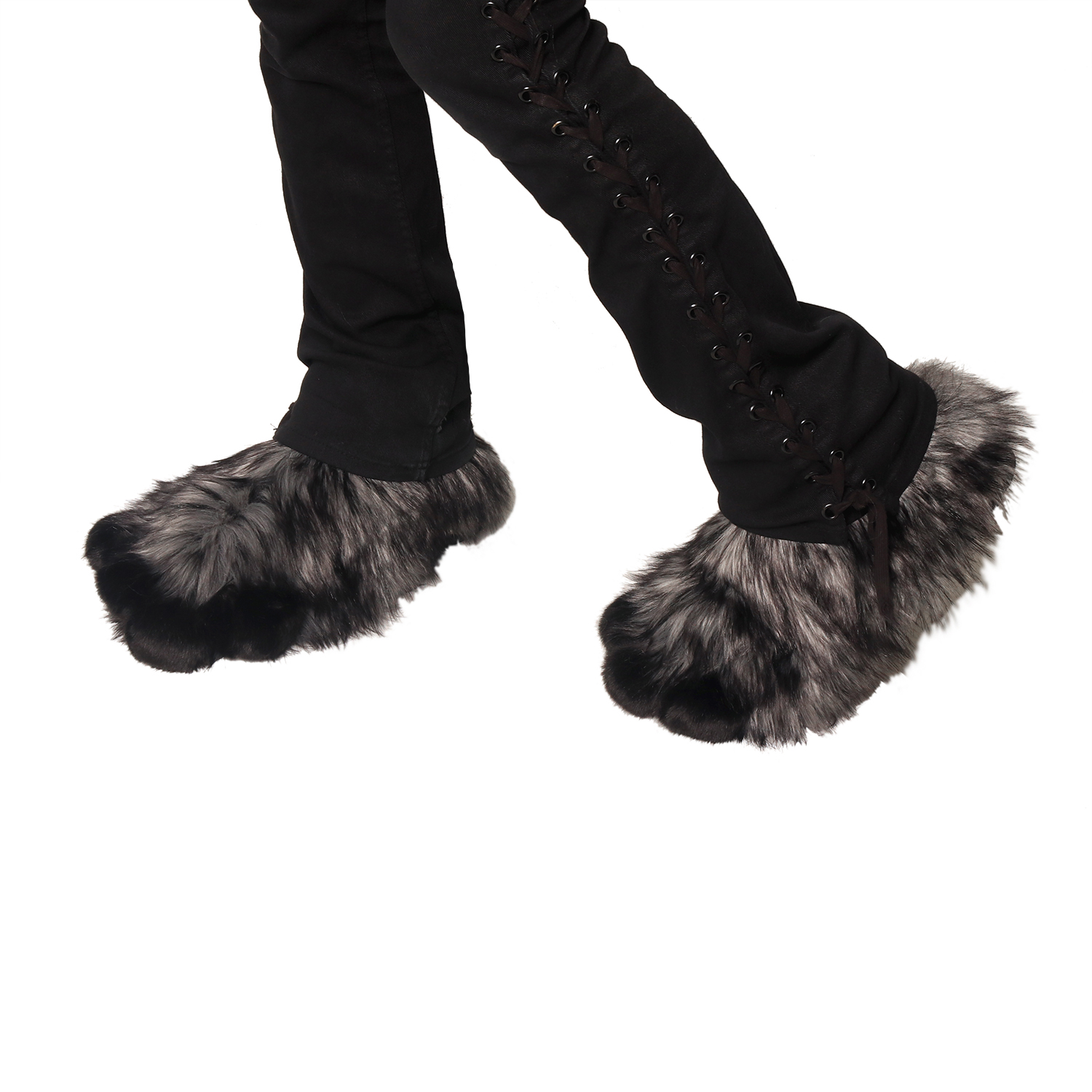 Fluffy Foot Paw Covers - Wild Wolf Fur