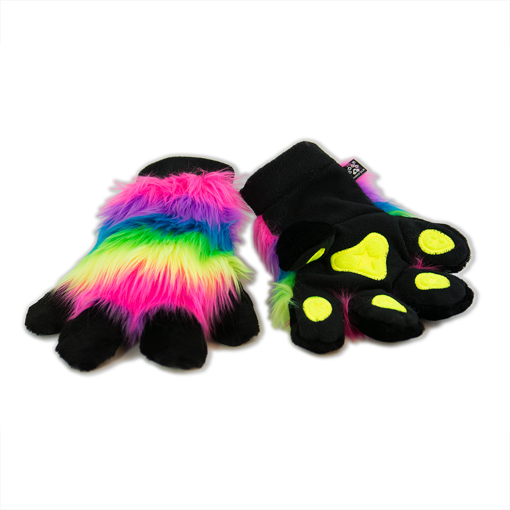 PawMitts Rainbow Fur Paw Hand Gloves